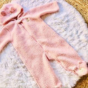 CARTER'S • Girls Pink Bear Zippered Winter Onesie